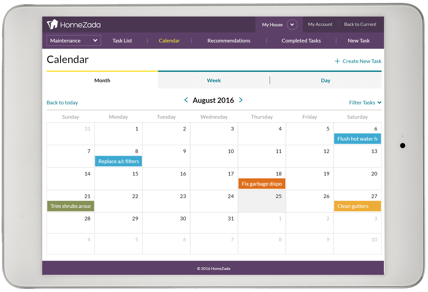 HomeZada Home Maintenance Calendar Tablet