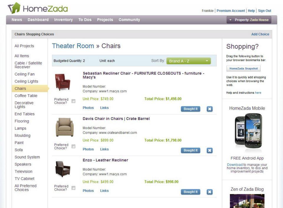 shopping choices screenshot