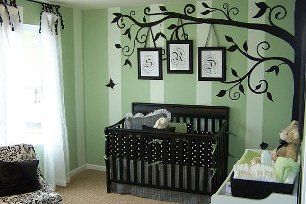 Unique Nursery Room With Tree Wall Decal