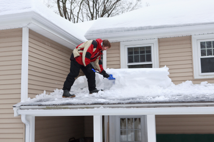 Sweeping Snow off Shallow Roofs
