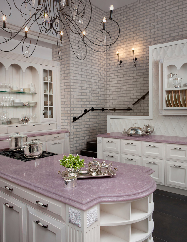 fa569 pink kitchen marble countertops brick wall better decorating