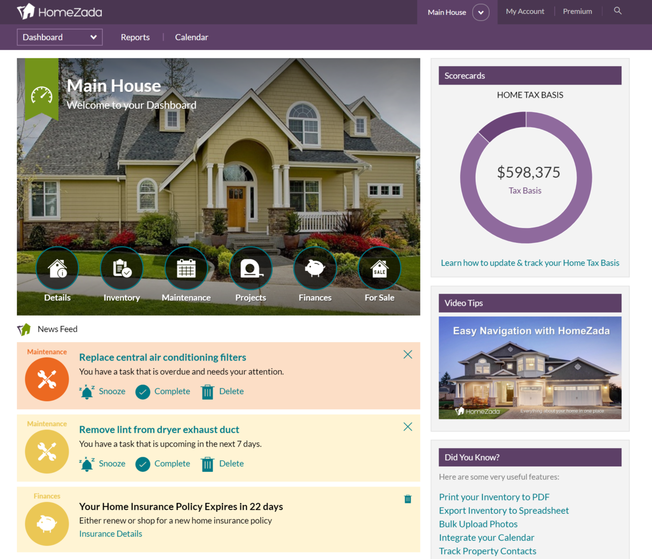 Updated HomeZada News Feed for More Personalization