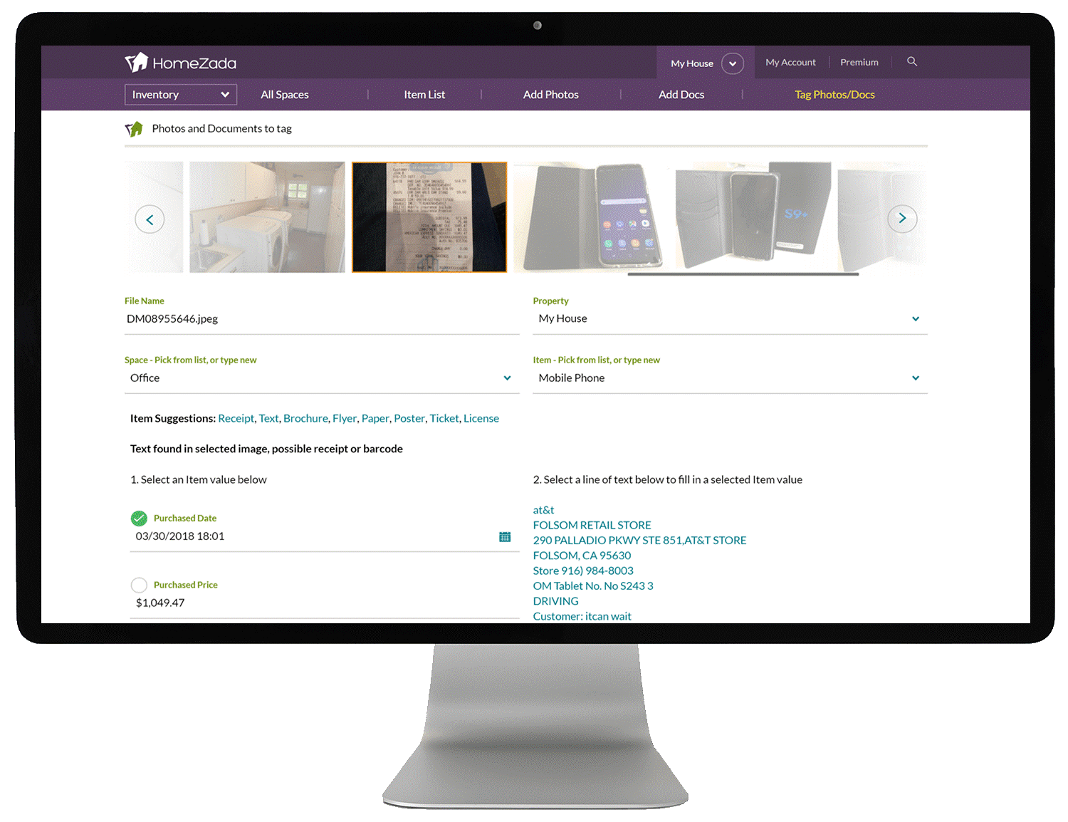 HomeZada New Receipt and Text Imaging Intelligence Automates Home Inventory Process